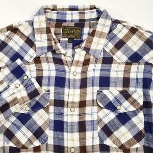 Lucky Brand Plaid Western Button Down Shirt EUC